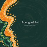 Aboriginal art vector banner with text. Illustration Stock Illustration