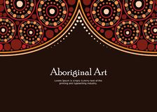 Aboriginal art vector banner with text. stock photo