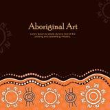 Aboriginal art vector banner with text. Illustration royalty free illustration