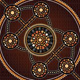 Aboriginal art vector painting, Connection concept. Illustration based on aboriginal style of dot background stock illustration