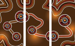 Aboriginal art vector painting, Connection concept, Illustration based on aboriginal style of dot background. Vector illustration royalty free illustration