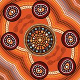 Aboriginal art vector painting, Connection concept,. Illustration based on aboriginal style of dot background Royalty Free Illustration