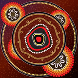 Aboriginal art vector painting. Stock Photos