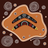 Aboriginal art vector painting illustration with boomerang. Royalty Free Stock Photo
