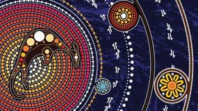 Aboriginal art vector painting with kangaroo. Illustration based on aboriginal style of landscape dot background royalty free illustration