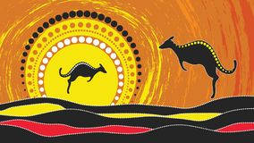 Aboriginal art vector painting with kangaroo. Based on aboriginal style of landscape dot background. Aboriginal art vector painting with kangaroo. Illustration Vector Illustration