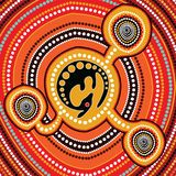 Aboriginal art vector painting with kangaroo, Connection concept, Based on aboriginal style of dot background. Aboriginal art vector painting with kangaroo vector illustration