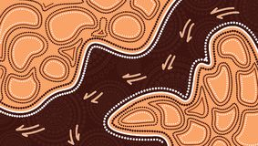 Aboriginal art vector painting with kangaroo track. based on aboriginal style of dot background. Aboriginal art vector painting with kangaroo track stock illustration