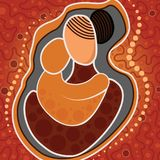 Aboriginal art vector painting, Mother and child concept. Illustration Royalty Free Illustration