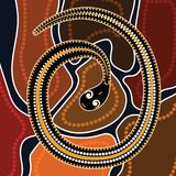 Aboriginal art vector painting with snake. Aboriginal vector illustration