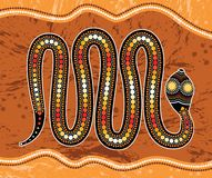 Aboriginal art vector painting with snake. Illustration based on aboriginal style of landscape background Stock Images
