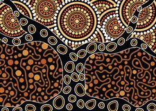Aboriginal art vector painting with tree. Illustration based on aboriginal style of dot background Vector Illustration
