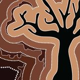 Aboriginal art vector painting with tree. Illustration based on aboriginal style of dot painting Vector Illustration