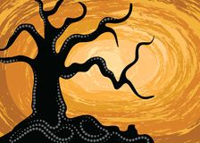 Aboriginal art vector silhouette background with tree. Stock Illustration