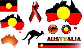 Aboriginal Australia Icons. Vector graphic images and icons representing Aboriginal Australia stock illustration