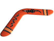 Aboriginal boomerang. Isolated illustration of a handmade Aboriginal boomerang Royalty Free Stock Photography