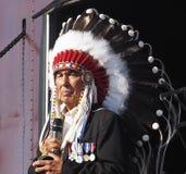 Aboriginal Chief Addressing People In Edmonton Alberta Royalty Free Stock Image
