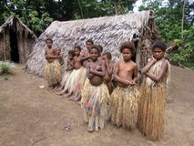 Aboriginal children in a jungle village Royalty Free Stock Photography