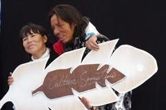 Aboriginal couple holds  Royalty Free Stock Photos