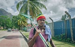 An aboriginal creole man is going on work Stock Images