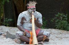 Aboriginal culture show in Queensland Australia. Portrait of one Yugambeh Aboriginal man play Aboriginal music on didgeridoo, instrument during Aboriginal Stock Photography