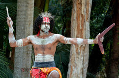 Aboriginal culture show in Queensland Australia. Portrait of one Yugambeh Aboriginal warrior man preform Aboriginal culture martial art during cultural show in royalty free stock image