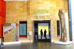 Aboriginal cultures gallery in Museum, Adelaide. Aboriginal cultures gallery with Aborigine artworks and paintings in the South Australian Museum, Adelaide Stock Photos