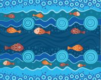 Aboriginal dot art painting with fish. Underwater concep. T, Landscape background wallpaper vector stock illustration