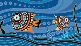 Aboriginal dot art painting with fish. Underwater concept, Landscape background wallpaper vector. Abstract Stock Photography