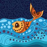 Aboriginal dot art painting with fish. Vector Illustration Royalty Free Illustration
