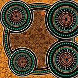 Aboriginal dot art vector background. Connection concept royalty free illustration