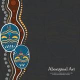 Aboriginal dot art vector banner. With mask stock illustration