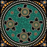 Aboriginal dot art vector painting. With turtle stock illustration