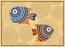 Aboriginal dot fish painting - Vector illustration. Aboriginal dot fish painting, vector dot art background Stock Image