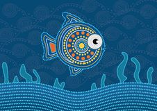 Aboriginal dot fish painting - Vector illustration. Aboriginal dot fish painting, vector dot art background Stock Photos