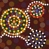 Aboriginal dot painting background. Spiral designs inspired by Australian Aboriginal dot art Stock Illustration