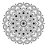 Aboriginal dot painting mandala, Australian ethnic design, gypsy  dots pattern ethnic style in black. Abstract mandala with dots, circles inspired by traditional Royalty Free Stock Photo