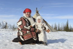 Aboriginal Family Russian Arctic in its stowed house - Chum! Stock Image