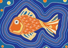 Aboriginal fish dot painting - Vector illustration. Aboriginal fish dot painting, vector dot art background Royalty Free Stock Photo