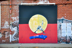 Aboriginal Flag: Fremantle Mural Stock Images