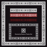 Aboriginal geometry pattern frame border set. Black white red aboriginal geometry pattern frame border set Stock Photos