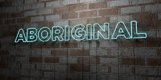 ABORIGINAL - Glowing Neon Sign on stonework wall - 3D rendered royalty free stock illustration Stock Photography