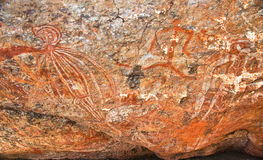 Aboriginal graffiti. At australian national park, northern territory vector illustration