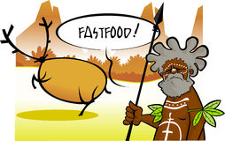 Aboriginal hunter calling a deer fastfood Stock Photography