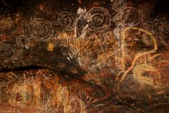 aboriginal konstAustralien rock Royaltyfri Fotografi