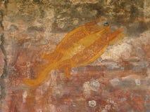aboriginal målningsrock Arkivbild
