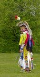 Aboriginal Man in Regalia. OTTAWA, CANADA - MAY 28: Unidentified aboriginal man dances in full dress and head regalia during the Odawa Powwow festival at Ottawa Royalty Free Stock Photo