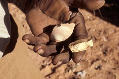 Ancient cutting tools in aboriginal hand. Aboriginal man`s hand holding traditional chipped stone cutting tools Stock Photography