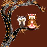 Aboriginal Painting With Owl Vector. Royalty Free Stock Images