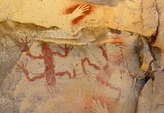 Aboriginal Paintings. Ancient cave paintings in Patagonia, Argentina stock photography